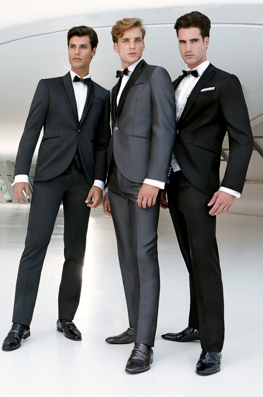 US $84 59 |Top sales new black satin lapels wedding dress the groom, holds  the best man suit men suit (jacket + pants + tie)-in Suits from Men's