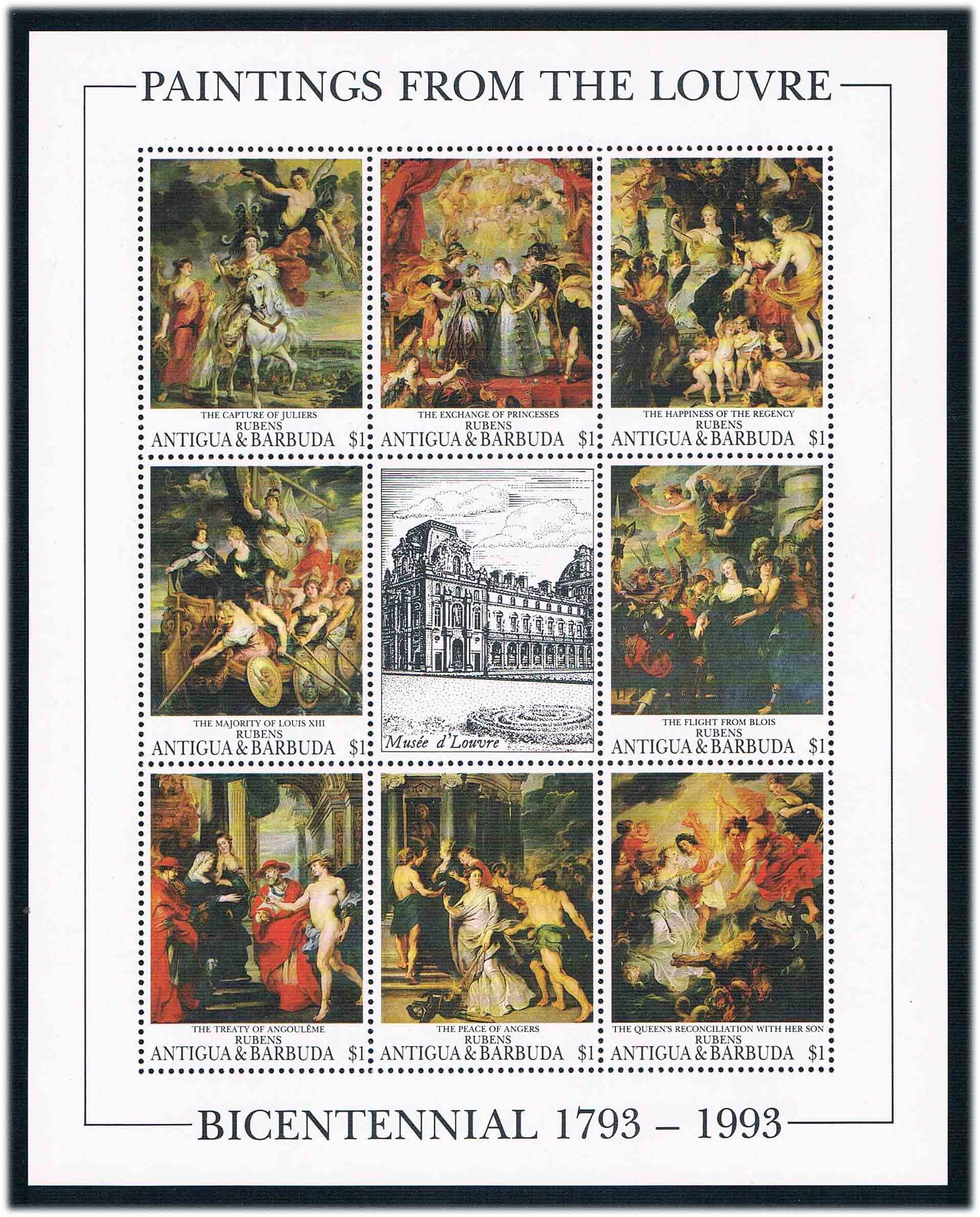 DA0635 Antigua Barbuda 1993 Le Louvre Museum 1MS new 0731 paintings of Lubensi's painting movado museum classic 0606503