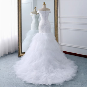 Image 3 - Fansmile ואגלי בציר תחרה שמלות בת ים חתונה שמלה בתוספת גודל 2020 ארוך רכבת מחוייט כלה חתונה טורקיה FSM 431M