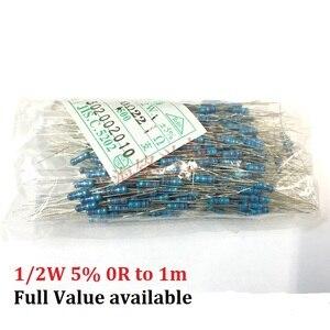 500pcs 0.5W (0R ~ 1M) Carbon Film Resistor 10K ohm 220R 4.7k 2.2K 1K 100K 1/2W Metal 3/5/6/7/8/9.1.2.3.4.5.6.7.8./K/R Free Ship