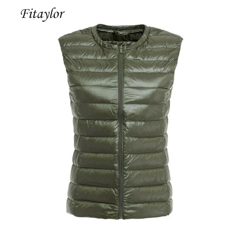 Fitaylor נשים קל במיוחד ברווז למטה אפוד מעיל סתיו חורף 90% לבן ברווז למטה מעילי נקבה מזדמן רוכסן הלבשה עליונה
