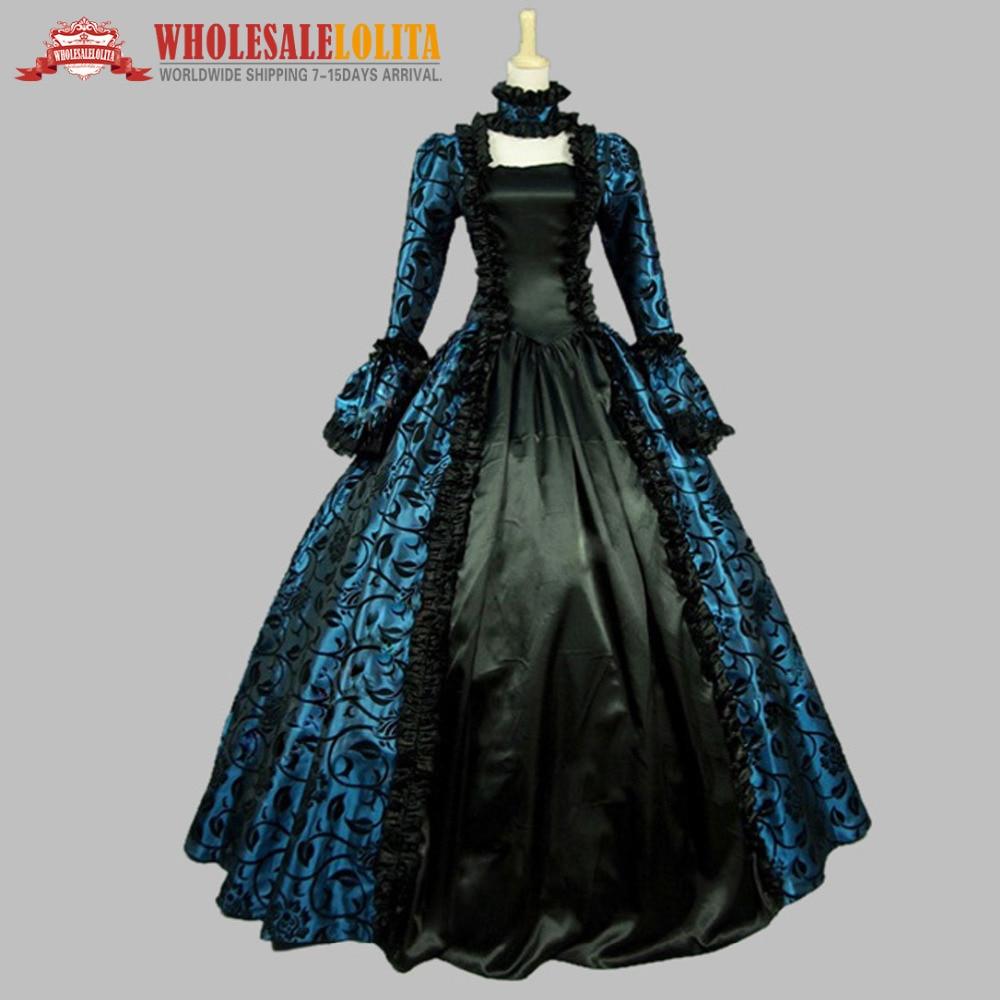 Victorian Gothic Georgian Period Dress Halloween Masquerade Ball Gown - Maskeradkläder och utklädnad - Foto 3