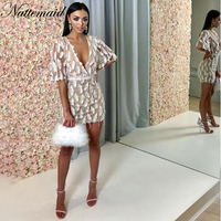 NATTEMAID Straight Half Sleeve White Feather Dress 2018 Women V Neck Sexy Club Dress Summer Casual Elegant Mini Dresses Vestidos