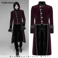 PUNK RAVE New Gothic Men's Black Standing Collar Swallow Tail Military Jacket Party Swallow Tail Red Tuxedo Coat Outwear Men