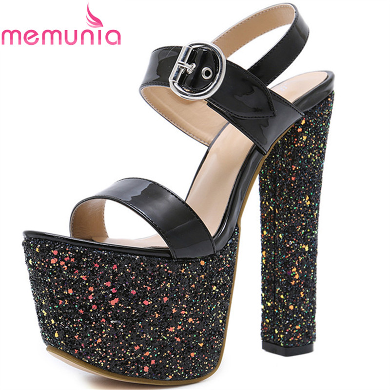 MEMUNIA Summer hot sale women sandals high heels platform shoes buckle open-toed sexy fashion party shoes popular new arrival memunia new arrive hot sale genuine
