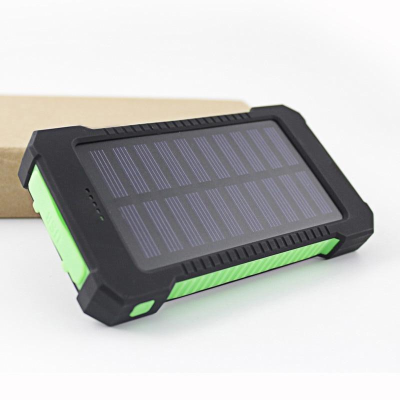 Цена за 2017 Водонепроницаемый Солнечный Мощность Bank 10000 мАч Dual USB Портативный Солнечный Зарядное устройство Батарея со светодиодной подсветкой и компас для Универсальный телефон