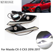 12v LED DRL Daytime Running Lights Waterproof With Fog Lamp Hole For Mazda CX-3 CX3 2016 2017 High Quality 12v 1pair led drl daytime running light fit for mazda cx 3 cx3 2016 2017 with yellow turn signal fog lamp cover car flashing