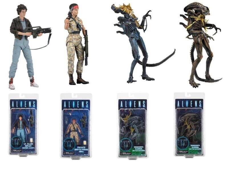 NECA ALIENS LT.Ellen Ripley Private Jenette Vasquez Xenomorph Warrior PVC Action Figure Collectible Toy xeltek private seat tqfp64 ta050 b006 burning test