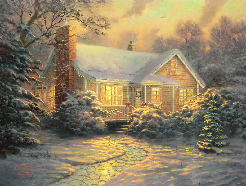 Chinese Oil Painting Thomas Kinkade Christmas Cottage Bedroom Decor Painting Oil Living Room Wall Wall Pictures Decoration Painting & Calligraphy