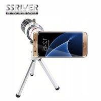 Borda SSRIVER para Samsung Galaxy S7 16x Lente Zoom Telescope Camera Lens Kit Tripé + Case Voltar lente Do Smartphone Para S7 Borda