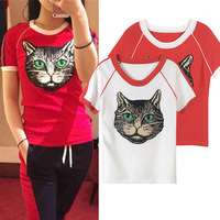 2018 Spring Summer Harajuku White Red Cat Embroidery T Shirts Women O Neck Short Knitted Tee
