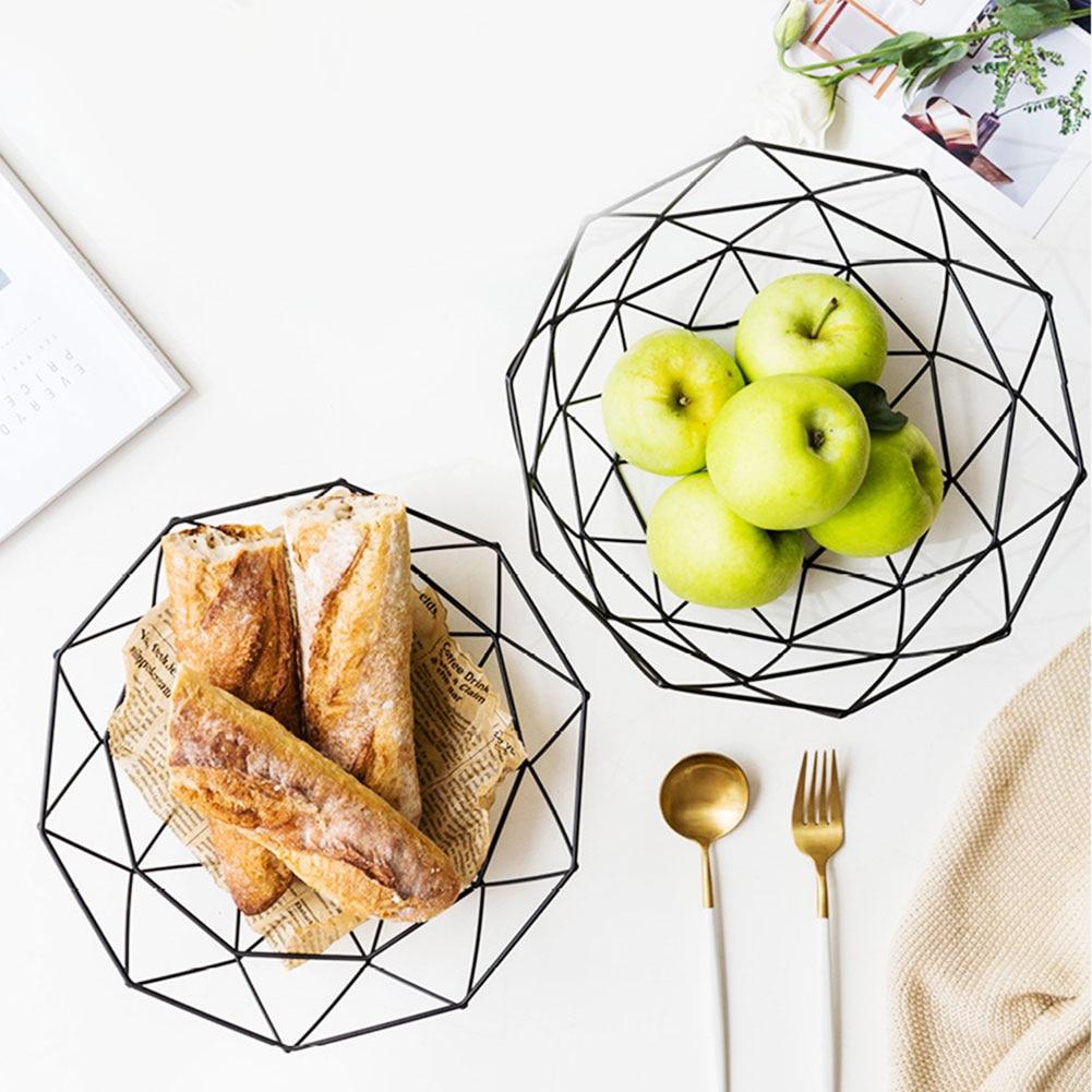 Fruit Basket Gold Storage Creative Snacks Candy Desktop Bedroom Kitchen Decor European Iron