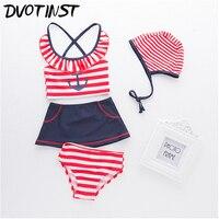 Dvotinst Baby Girls Clothes Red Striped Sailor Navy Swimwear Hat 4pcs Set Swim Suit Spa Bathing