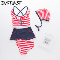 Dvotinst Baby Girls Clothes Red Striped Sailor Navy Swimwear Hat 4pcs Set Swim Suit Spa Bathing
