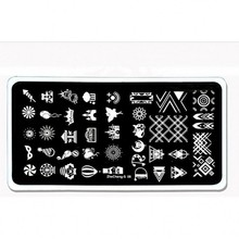 2018 New 1Pc Rectangle Nail Stamping Template Plates Crown Bear Castle Fire Balloon Pattern Art ZheCheng081