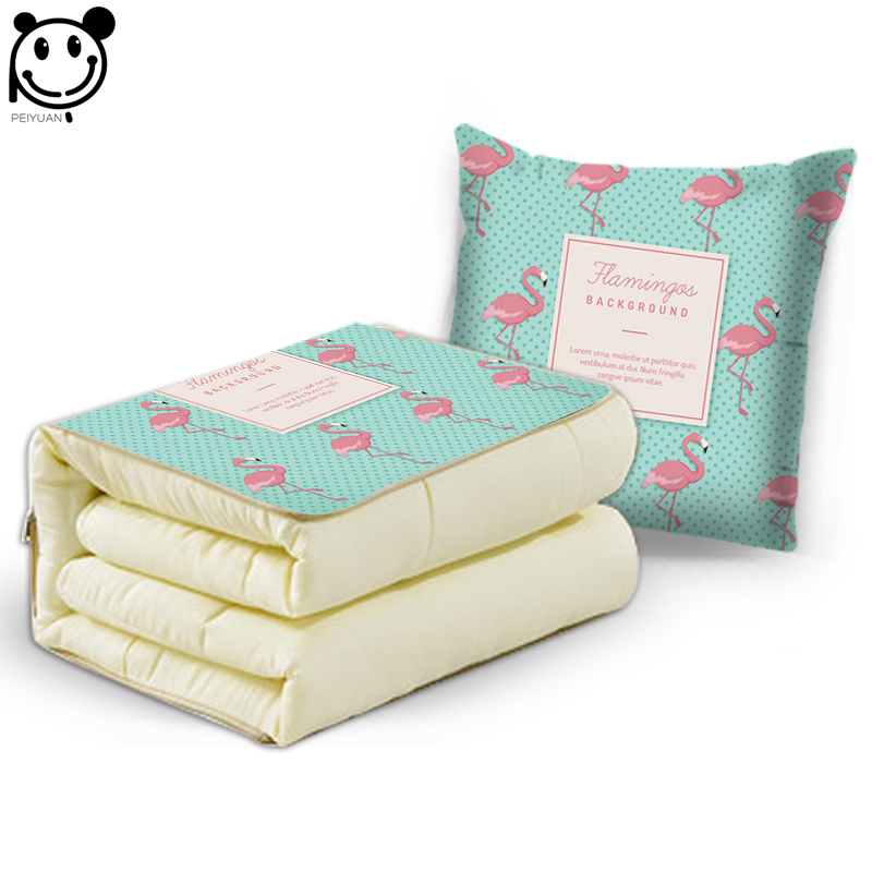 Animal Pillow And Blanket : PEIYUAN Animal Pink Flamingo and Green Plant Cushion Blanket Polyester Cotton Dual Purpose ...