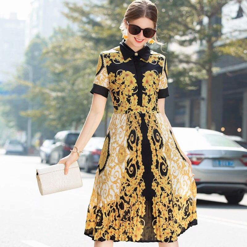 Femmes Designer Mi Plissée Marque À Jaune Mode Courtes Robe Floral Vintage 2019 Manches Imprimer mollet Style Robes D'été Piste Y6gyfvIb7