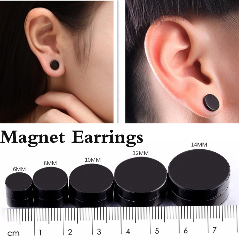 Black Magnet Earring Uni Fashion Jewelry No Piercing Stud Earrings Fake Ear Plug For Men Women 4pcs In From Accessories On