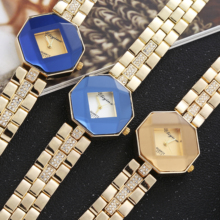 Ladies luxury with diamond alloy quartz watch retro gold fashion  ladies brand