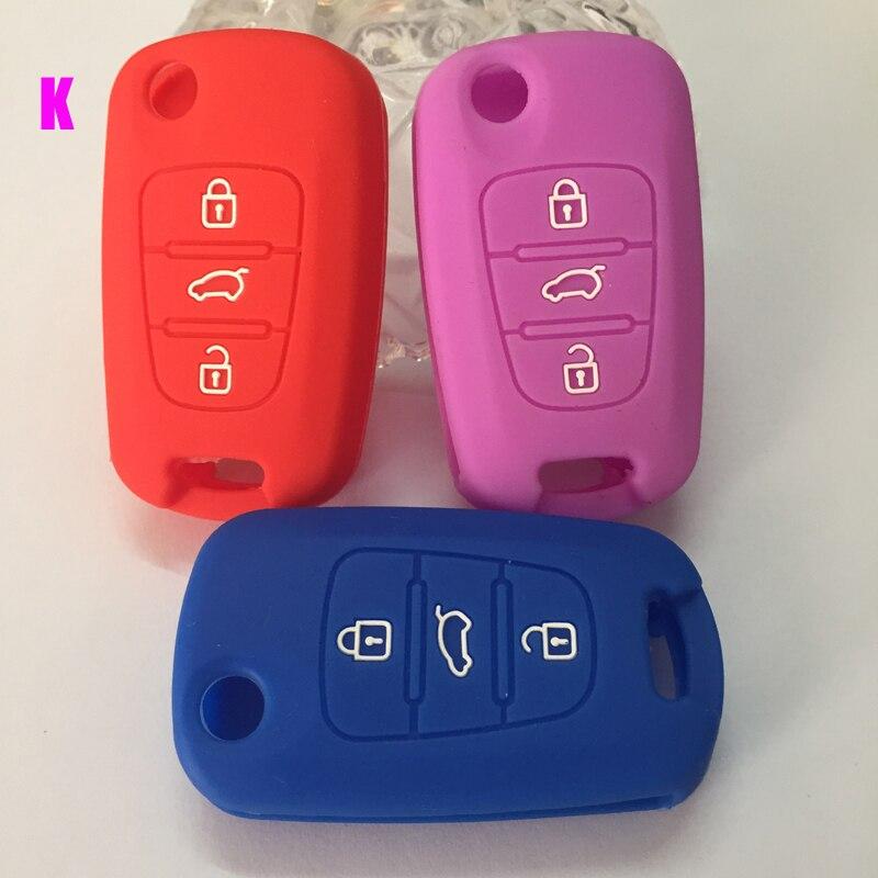 Free shipping good quality colorful silicon car key case for kia K2 K5 Sportage kia ceed