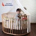Деревянные кроватки многофункциональный окружающей среды краски дети колыбель новорожденных детская кровать с москитной сеткой С колесами