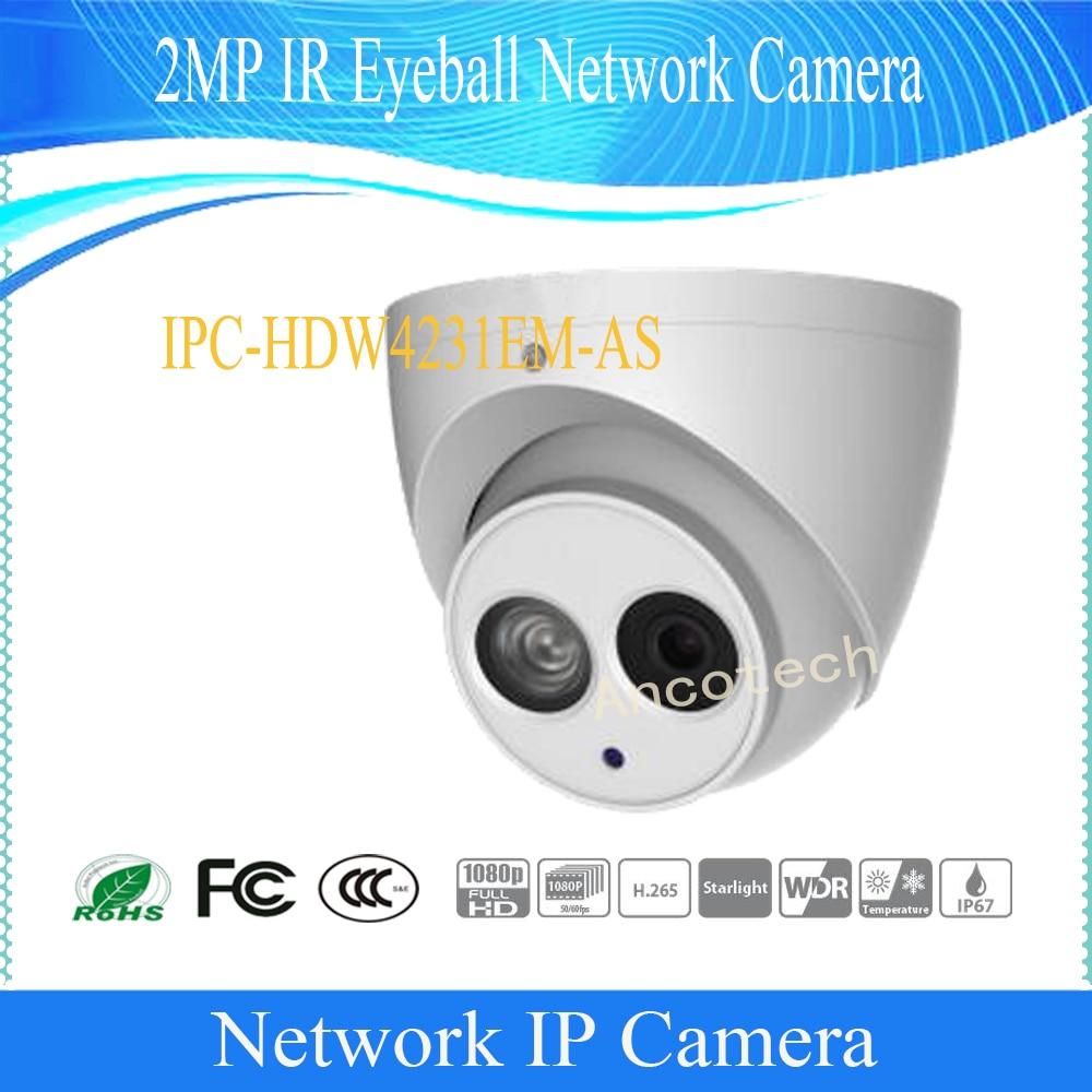 Free Shipping DAHUA IP Camera CCTV 2MP IR Eyeball Network Camera with POE IP67 without Logo IPC-HDW4231EM-AS free shipping dahua cctv camera 4k 8mp wdr ir mini bullet network camera ip67 with poe without logo ipc hfw4831e se