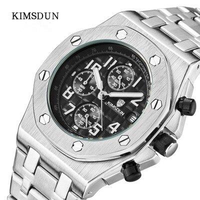 KIMSDUN Mode Sport Montre Hommes En Acier Plein Chronographe Quartz Hommes Montres Marque De Luxe D'affaires Homme Horloge Relogio Masculino