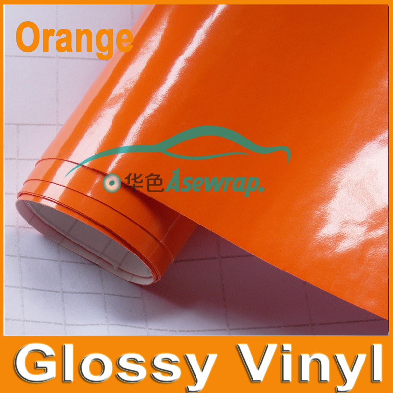 Free shipping 30/Lot high quality orange glossy car wraps vinyl high polymeric PVC car sticker decaration film with Air release