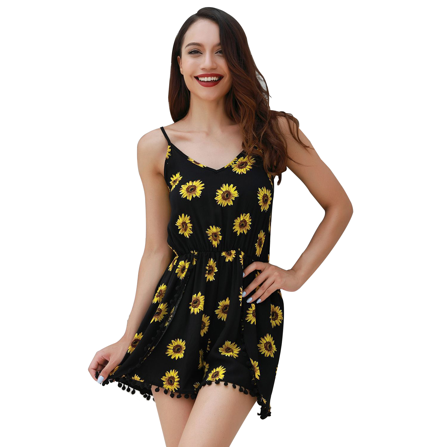 Arcohuang Summer Sexy Sling Women Jumpsuit Daisy Print V Neck Backless Lady Beach Playsuit Shorts + Cami One Piece Jumpsuit