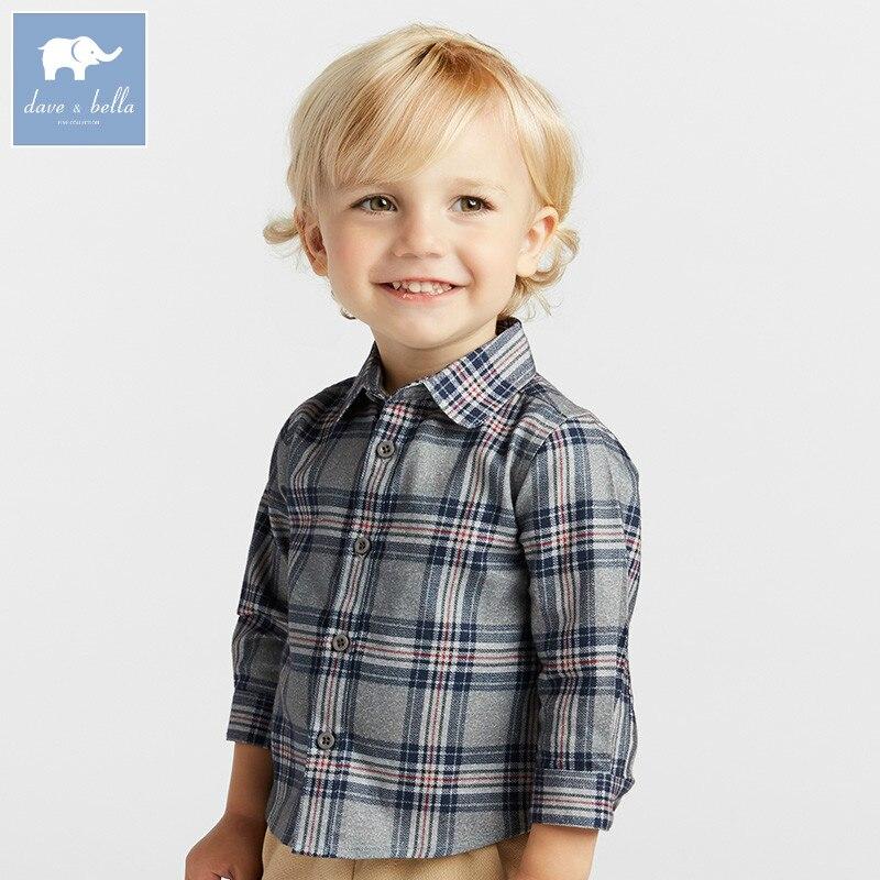 DB8685 Dave Bella осень Рубашка для маленьких мальчиков в клетку для мальчиков Одежда для детей эксклюзивные Кофты детей высокого качества Топ