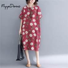 860ccc5b97516 2019 Yeni Kadın Yaz Kırmızı Nokta Baskı Pamuk Keten Elbise O Boyun Kısa  Kollu Yüksek Bel Kadın Gevşek Yaz Elbiseler ücretsiz Boy.