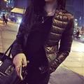 Черный Плюс Размер 3XL Тонкий Зимняя Куртка Женщин 2016 Новый мода Осень Хлопок Верхняя Одежда С Длинным Рукавом Теплый Дамы Короткие Основные пальто