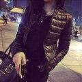 Negro Tallas grandes 3XL Delgada Chaqueta de Invierno Las Mujeres 2016 Nuevo la moda de Otoño de Algodón prendas de Vestir Exteriores de Manga Larga para Mujer Caliente Corta Básica abrigos