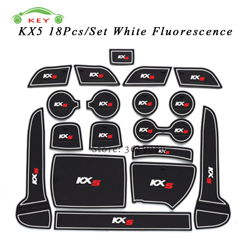 For KIA KX5 Car Gate Slot Mat Rubber Anti-slip Door Pad Auto Cup Holder Mat Car Interior Accessories 18Pcs