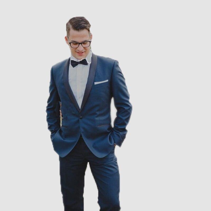 2019 Navy Blue Shawl Lapel Suit Men Blazer Wedding Grooms Men Slim Fit Prom Jacket Tuxedo Costume Homme Mariage Reception Terno