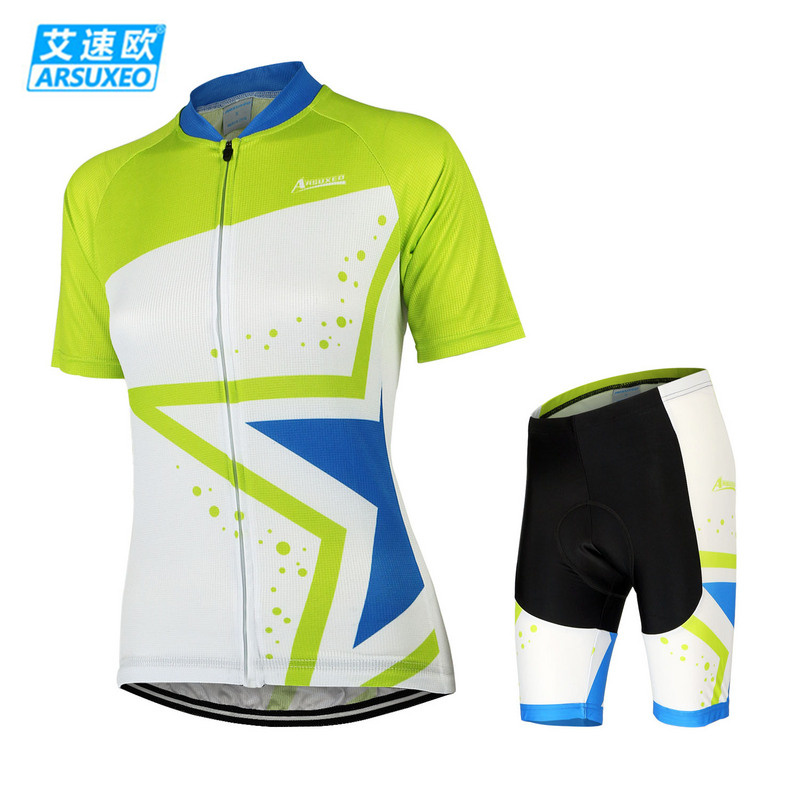 ARSUXEO Bike Bicycle Cycling Clothing Set Short Sleeve Jersey + 3D Coolmax Padded Shorts Women Breathable Quk Dry Sportswear arsuxeo cycling short pants