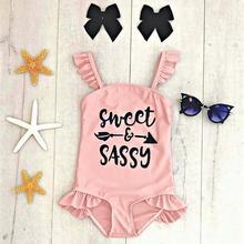 Детский купальный костюм для девочек, Цельный купальник с оборками и надписью для маленьких девочек, купальный костюм-бикини, купальный костюм A1