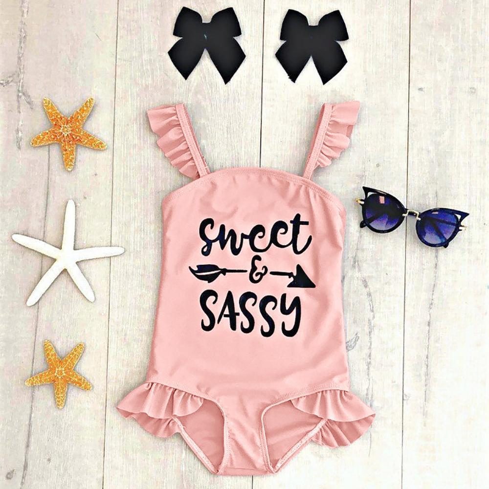 2019 Children Swimsuit Girls One Piece Toddler Kids Baby Girls Ruffles Letter Swimsuit Bikini Swimwear Bathing Suit A1