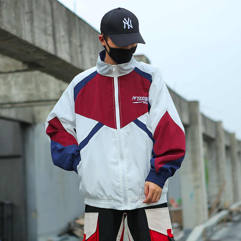 Hip Hop Jackets Men Windbreaker Spring Autumn New Patchwork Color Block Zipper Jacket Loose Coat Men Streetwear 4XL 5XL