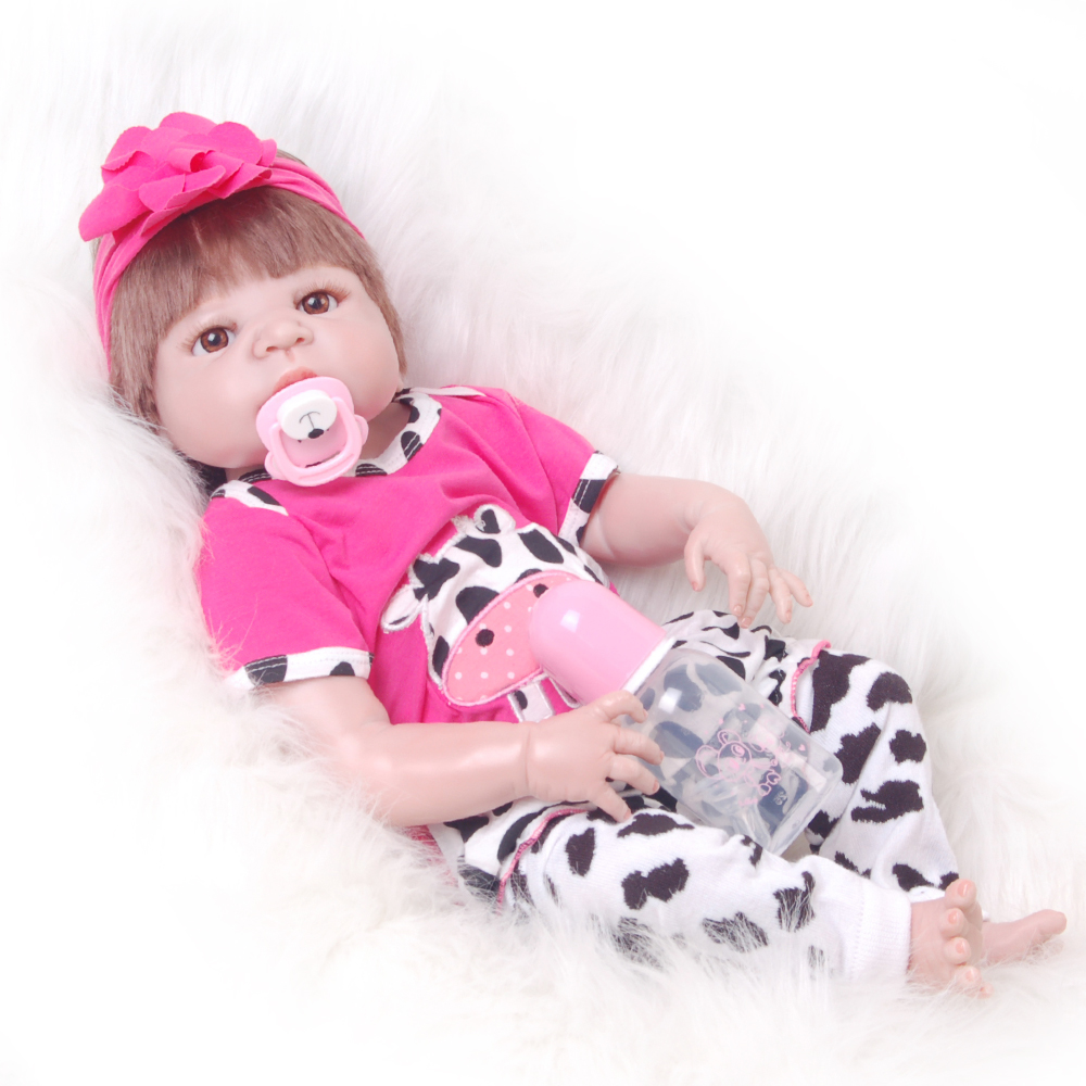 New 23 Inch Alive Full Silicone Vinyl Doll Reborn Baby Realistic 57 cm Newborn Dolls For Princess Girl Birthday Gift Baby T simulation baby girl dolls with short yellow hair newborn realistic alive silicone 60cm height gift for kid house education doll