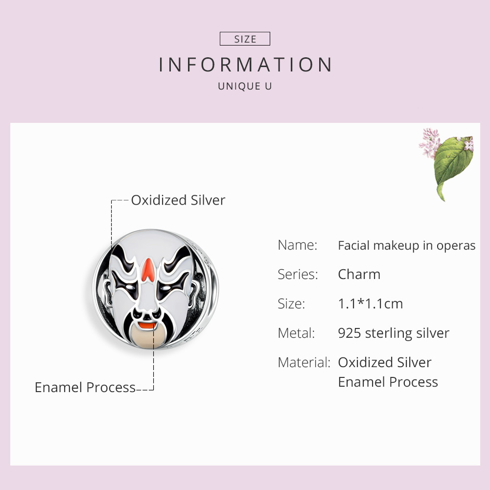 925 Sterling Silver Traditional Beijing Opera Facial Makeup Enamel Mask Beads For Original Charm Bracelet Scc1193 in Beads from Jewelry Accessories