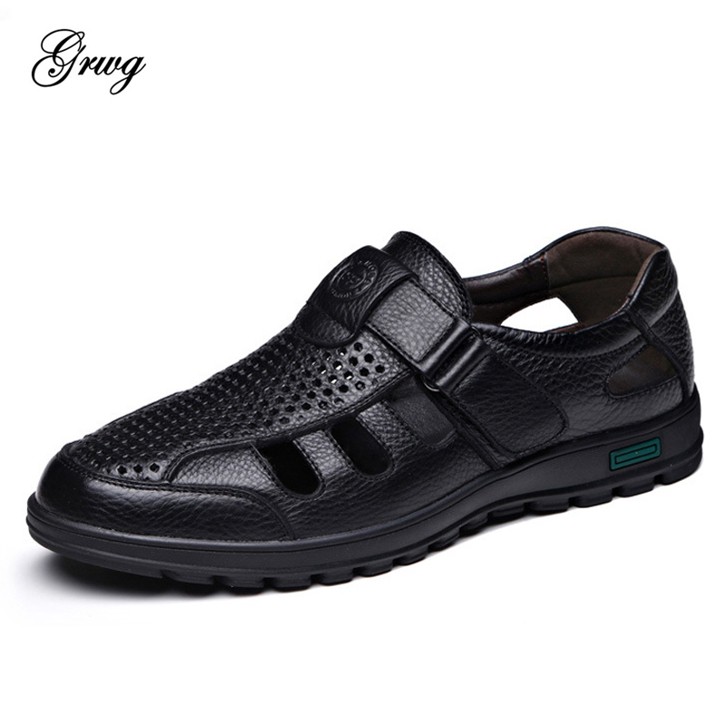 GRWG Comfortable Men Sandals Summer Casual Shoes New Mens Beach Shoes Breathable Waterproof Footwear Men Lazy Shoes Size 38~44