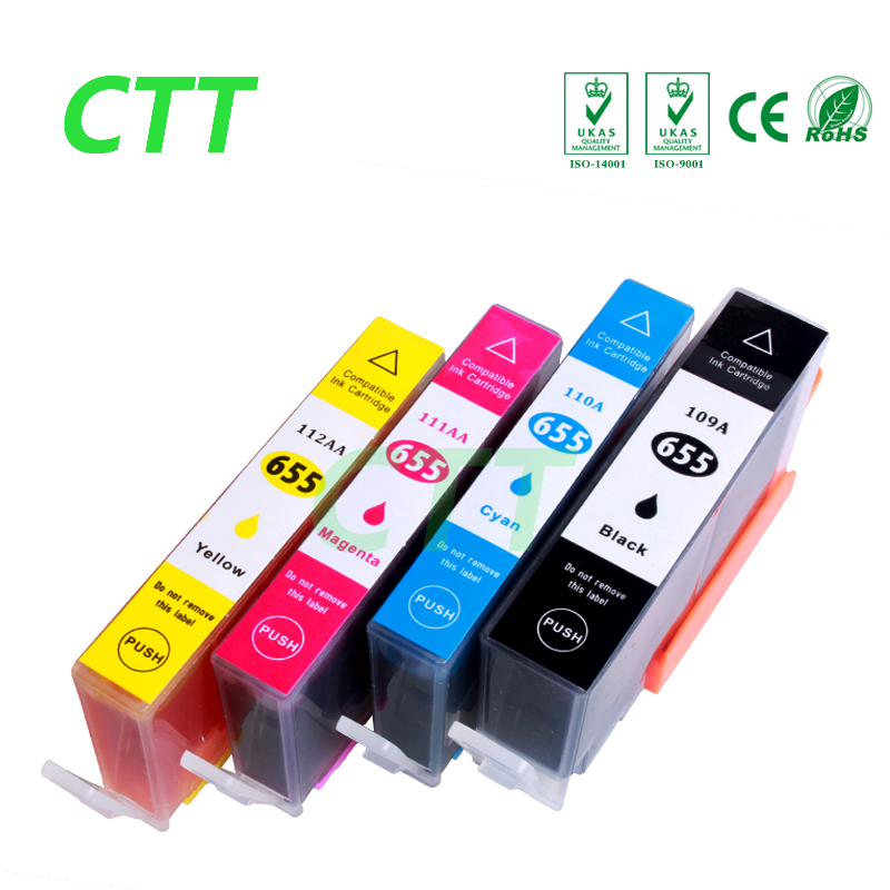 4 PCS compatible ink cartridge for HP655 cartridge for HP Deskjet 3525 4615 4625 5525 6520 6525 6625 with chip 4 color