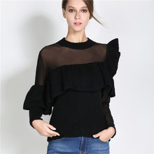 New 2017 Autumn and winter black tulle patchwork long sleeve sweater lace stitching ruffles knitted pullover women clothing