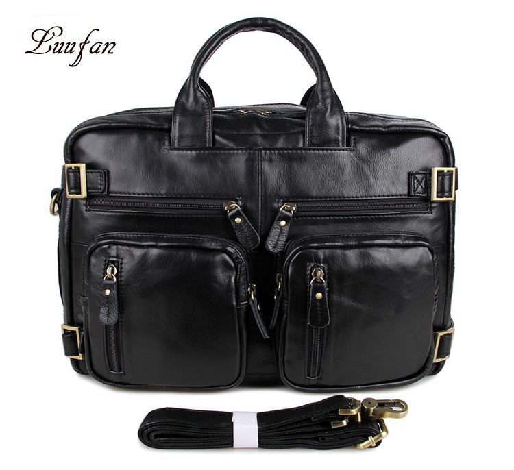 Man Genuine Leather Business Briefcase Soft Cow Leather 15 Inch Laptop Handbag Tote Big Capacity Shoulder Messenger Bag Black