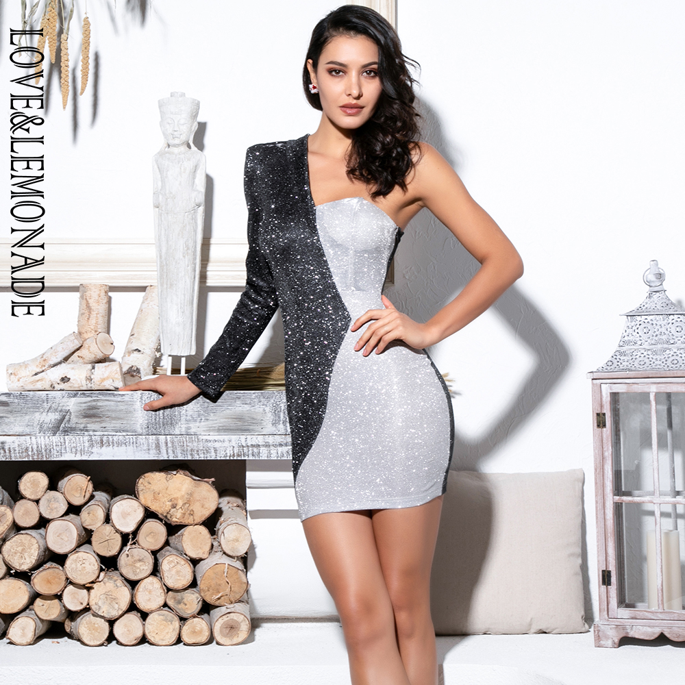 LOVE&LEMONADE Black And Silver Irregular Collar Bodycon Long Sleeves Glitter Fabric Dress LM81799 Autumn/Winter-in Dresses from Women's Clothing    1