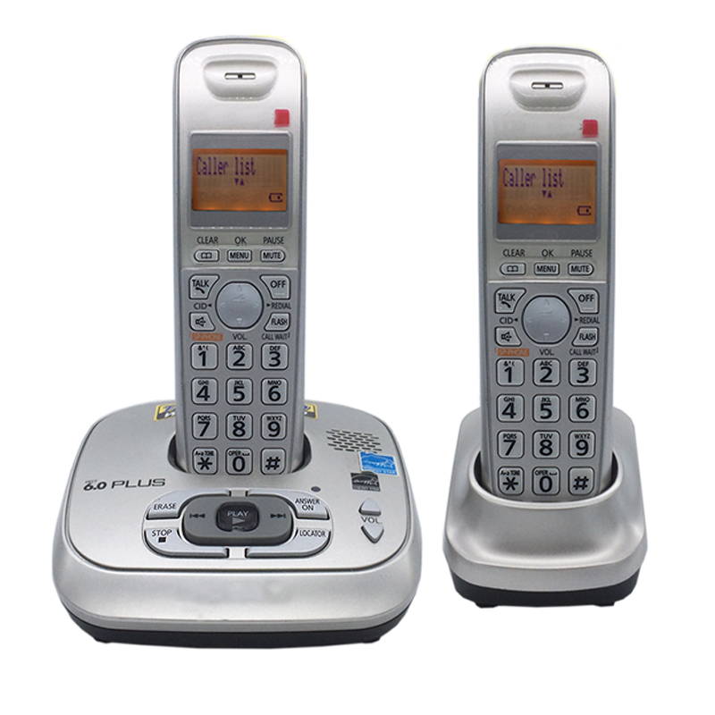 2 Handset Dect 6.0 Digital Cordless Phone With Answer Machine Voice Mail Backlit Fixed Telephone For Office Home Bussiness english digital cordless phone with answer systerm call id home wireless base station cordless fixed telephone for office home