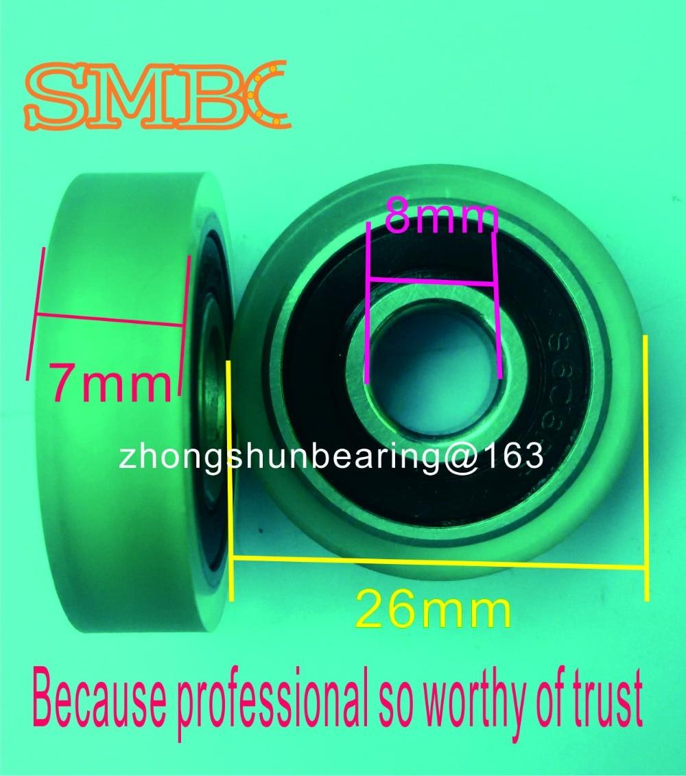 PU burkolatcsapágy ATM gumi kerék Préselt papír kör alakú 3D nyomtatókerék S608 RS Rozsdamentes acél csapágy méret: 8 * 26 * 7