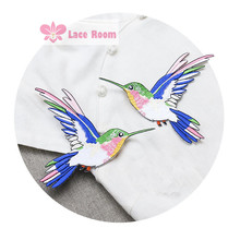 One pair New symmetrical hummingbird stickers Lace patches lace fabric clothes stickers affixed embroidered applique LC874