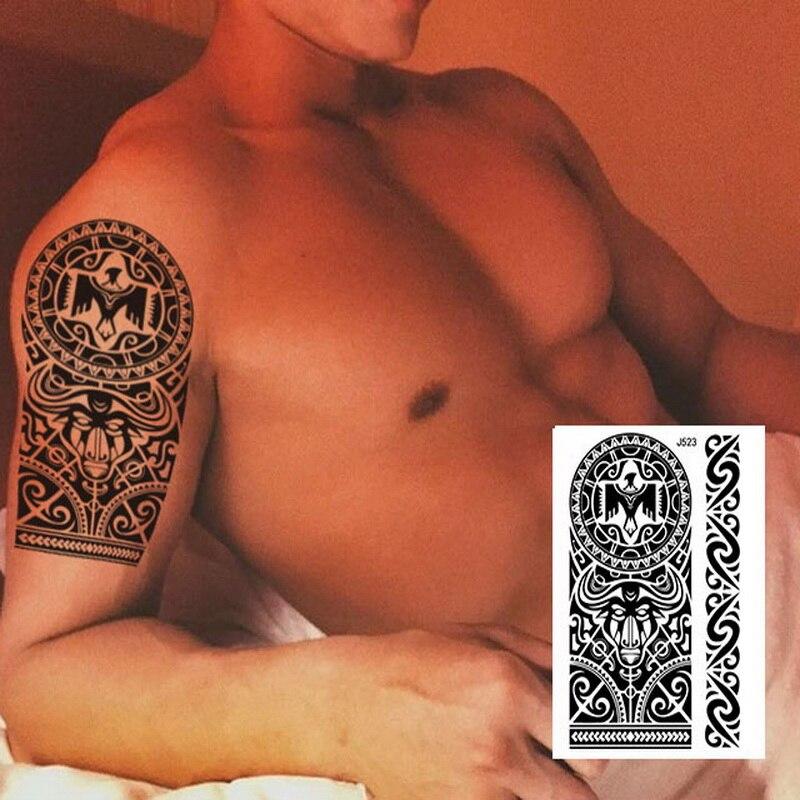 1PC NEW 24model Taty Large Body Art Arm Sleeves Temporary Tattoo Sticker Fake Tatoo Men Indian Totem Eagle bull Black tatuagem